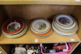 A quantity of Pratt ware decorated plates and bowls.