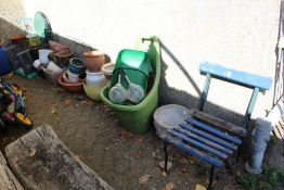 A quantity of garden effects to include terracotta plant pots etc.