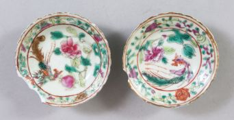 A PAIR OF SMALL CHINESE FAMILLE ROSE NONYA PORCELAIN DISHES, each dish decorated with scenes of