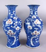 A PAIR OF 19TH CENTURY CHINESE BLUE & WHITE PORCELAIN PRUNUS VASES, each with prunus decoration, the