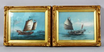 A PAIR OF 19TH CENTURY CHINESE GILT FRAMED PAINTED PICTURES OF JUNK / SHIPS AFTER CHINERY, 31cm wide