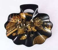 A GOOD JAPANESE MEIJI PERIOD LACQUER FAN SHAPED TRAY, the tray finely decorated with scenes of