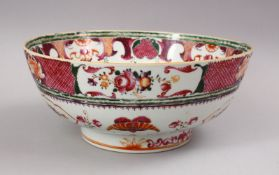 A GOOD 18TH CENTURY CHINESE QIANLONG MANDARIN PORCELAIN BOWL, decorated with scenes of flora and