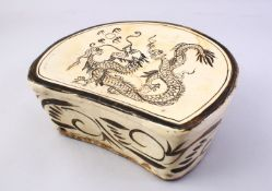 A GOOD CHINESE CI ZHOU POTTERY PILLOW - DRGAON, The pillow decorated with the scenes of a dragon and