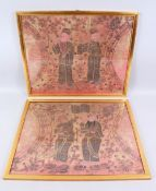 A PAIR OF 19TH / 20TH CENTURY CHINESE EMBROIDERED SILK OR TEXTILE PICTURES, both pictures