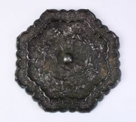 A LARGE 18TH CENTURY OR EARLIER CHINESE TANG STYLE BRONZE MIRROR, with decoration depicting