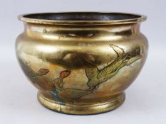 A LARGE JAPANESE MEIJI PERIOD BRONZE GEESE JARDINIERE, the body of the jardiniere with carved