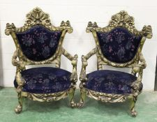 A PAIR OF FRENCH STYLE DECORATIVE THRONE STYLE ARMCHAIRS. 3ft 10ins high x 2ft 10ins wide.