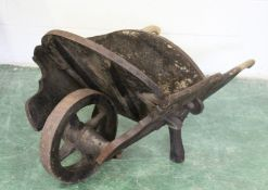 """AN OLD """"COUNTRY HOUSE"""" WHEELBARROW, LATE 19TH/EARLY 20TH CENTURY. Provenance: Chatsworth House."""
