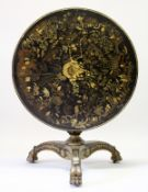 A VERY GOOD REGENCY BLACK LACQUER AND CHINOISERIE DECORATED CIRCULAR TILT TOP TABLE, the top