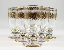 A SET OF SIX SIMILAR BACARAT GLASSES.