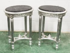 A PAIR OF FRENCH STYLE SILVERED WOOD AND MARBLE TOP OVAL LAMP TABLES. 1ft 8ins wide x 2ft 4ins