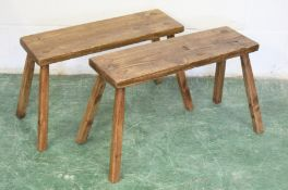 A PAIR OF SMALL PINE BENCH SEATS. Seat: 2ft 2ins long x 9ins wide x 1ft 4ins high.