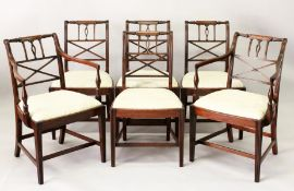 A SET OF SIX EARLY 20TH CENTURY MAHOGANY DINING CHAIRS, two with arms, all with turned and carved