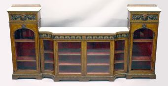 IN THE MANNER OF GILLOW, A SUPERB BURR WALNUT, ORMOLU AND MARBLE BREAKFRONT SIDE CABINET, the centre