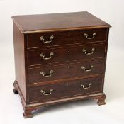 A GOOD GEORGE III MAHOGANY DRESSING CHEST, with four long graduated drawers, the top drawer