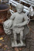 A good weathered garden figure, possibly sandstone, modelled as a man holding a bunch of flowers.