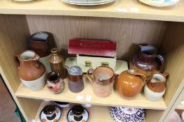 Salt glazed jugs, tankards, a painted Noah's Ark etc.