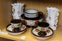 Lustre china and a pair of vases.