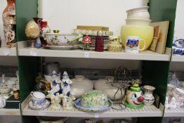 Two shelves of decorative china etc.