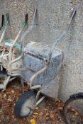 A builder's wheelbarrow.
