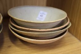 Four early Chinese pottery bowls.