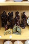 Chinese carved wood figures and other items.