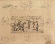 """Frank Payton. 'Royal and Ancient, St Andrews', an Etching of a Golf Scene, 8"""" x 10"""", and an Unframed"""