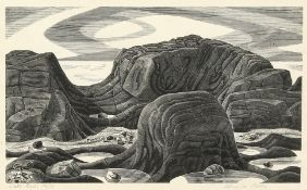 Monica Poole (1921-2003) British,' Slate Rocks', woodblock print, signed and inscribed and numbered