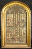 """A 19th century coloured print of the east window of Kings College chapel, in an arch top frame, 39"""""""
