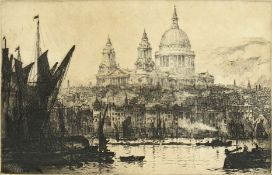 Ernest Llewellyn Hampshire (1882-1944) British, 'Saint Paul's from the River', etching, signed and