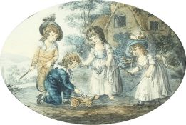 """A pair of 19th Century prints of children playing, in verre eglomise frames, 8"""" x 10""""."""