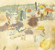 """After Jean Pouguy, Figures on a Beach, lithograph, signed and numbered in pencil, 41/220, 8.5"""" x 9."""
