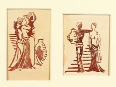 Attributed to Lill Tschudi (1911-2004) Swiss, female figures with classical urns, linocut, one 5.