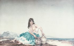 """After William Russel Flint. A Semi-clothed Maiden in a Landscape, Signed in Pencil, 16"""" x 25""""."""