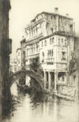 """Andrew Affleck (1869-1935) British, Gondola on a Venetian Canal, etching, signed in pencil, 22"""""""