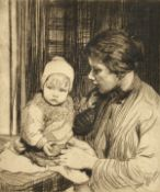 """William Lee Hankey (1869-1952) British. Mother and Child, Etching, Signed in Pencil. 11"""" x 9""""."""