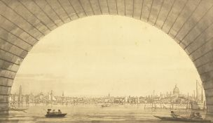 """After Canaletto. London, the city seen through the arch of Westminster Bridge, 11"""" x 18""""."""
