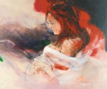 """After Christine Comyn, a print of a reclining female figure, signed and numbered in pencil 30""""x36""""."""