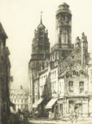 """Andrew Affleck (1869-1935) British, 'Towers of Calais' etching, signed in pencil, 16""""x12""""."""