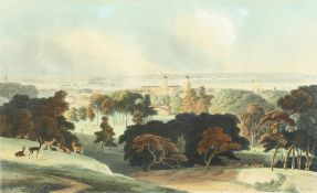 """William Daniell. Hand Coloured Early 19th Century Aquatint, 'London from Greenwich Park'. 16"""" x"""