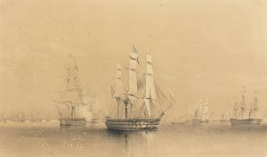 Oswald Walters Brierly (1817-1894) British, 'The English and French Fleets in the Baltic',
