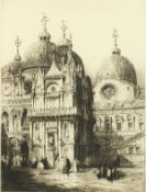 """Andrew Affleck (1869-1935) British, 'Courtyard Ducal Palace', etching, signed in pencil, 16""""x12""""."""