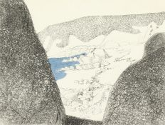 """A print of Gunwalloe beach, Cornwall, inscribed, numbered and dated, 1991, 6"""" x 8""""."""