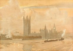 Manner of Emile Verpilleux, Coal Barges on the Thames, with the Houses of Parliament in the