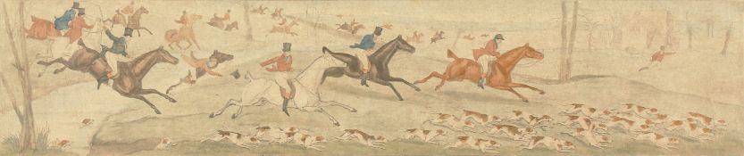 """After H. Alken, 'Leicestershire covers 1820' a set of Four hunting prints, each 5""""x23.5"""" (4)."""