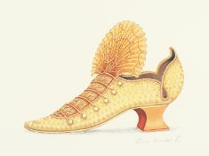 After Fiona Saunders, a pair of lithographs of shoes, signed in pencil and numbered 88/100 each
