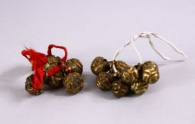 TWO LOTS OF 18TH / 19TH CENTURY CHINESE BRONZE OR GILT METAL ROBE BUTTONS, two lots.