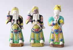 THREE 19TH CENTURY CHINESE FAMILLE ROSE / VERTE PORCELAIN FIGURES OF GENERALS, each originally
