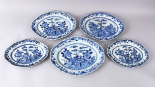 FIVE 18TH CENTURY CHINESE BLUE & WHITE PORCELAIN SERVING DISHES, each with a varying display of